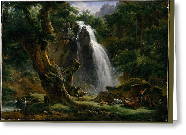 Achille Etna Michallon    Waterfall At Mont Dore Greeting Card