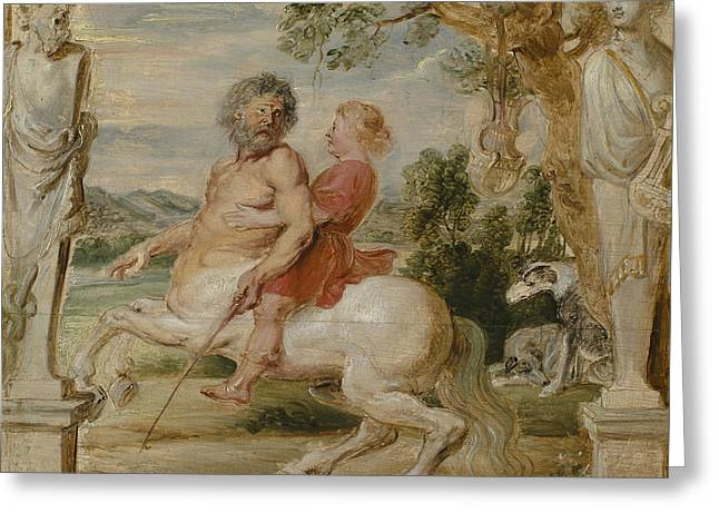 Achilles Educated By The Centaur Chiron Greeting Card