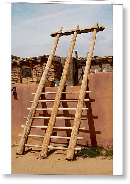 Greeting Card featuring the photograph Acoma Ladder by R Thomas Berner