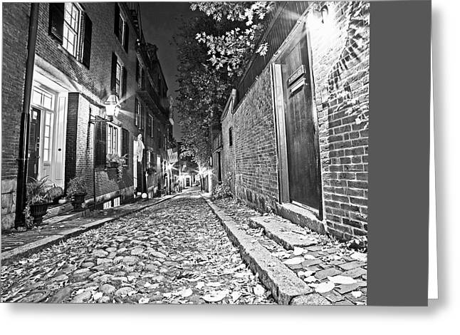 Acorn Street Autumn Boston Mass Street Light Black And White Greeting Card