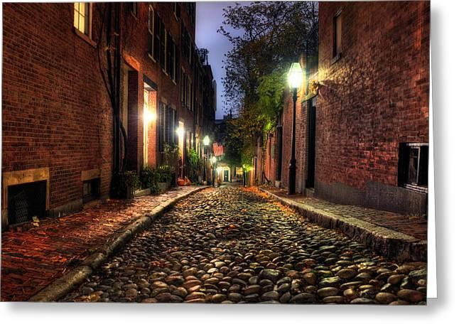 Acorn Street - Beacon Hill - Boston Greeting Card by Joann Vitali