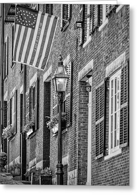 Acorn Street Details Bw Greeting Card by Susan Candelario