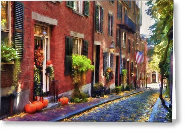 Acorn Street In Autumn Greeting Card by Joann Vitali