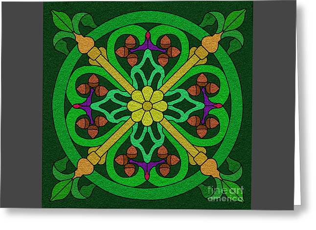 Acorns On Forest Green Greeting Card