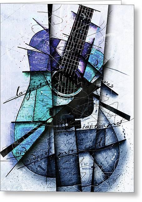 Acoustic Alchemy In Blue Greeting Card by Gary Bodnar