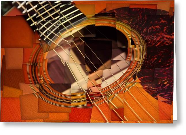 Acoustic Cubism Greeting Card by Dan Sproul