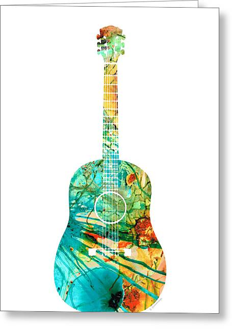Acoustic Guitar 2 - Colorful Abstract Musical Instrument Greeting Card by Sharon Cummings