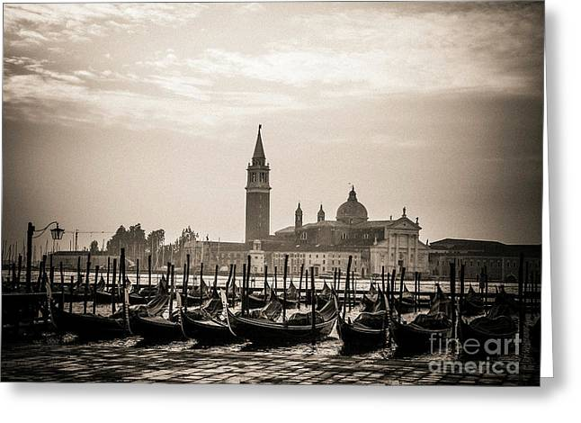 Acqua Alta. Flood . Venice. Italy Greeting Card by Bernard Jaubert