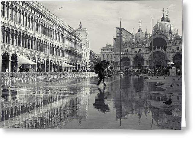 Acqua Alta, Piazza San Marco, Venice, Italy Greeting Card by Richard Goodrich