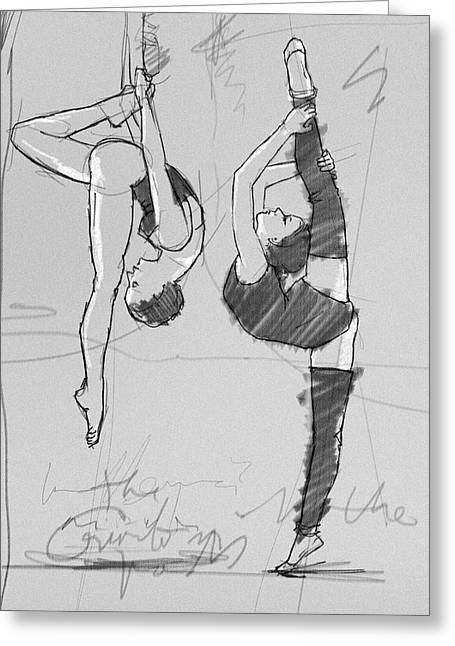 Acrobat And Ballerina Greeting Card by H James Hoff