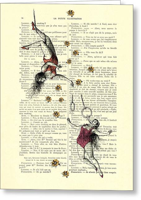 Acrobatics Women Circusact Vintage Illustration On Book Page Greeting Card by Madame Memento
