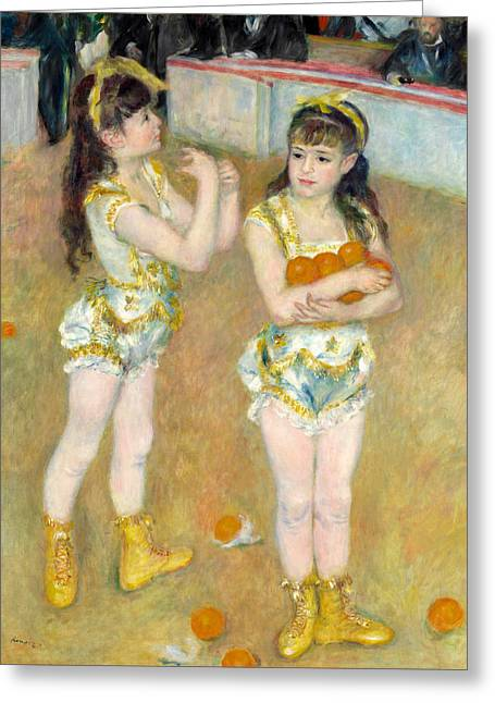 Acrobats At The Cirque Fernando, Francisca And Angelina Wartenberg Greeting Card by Pierre-Auguste Renoir
