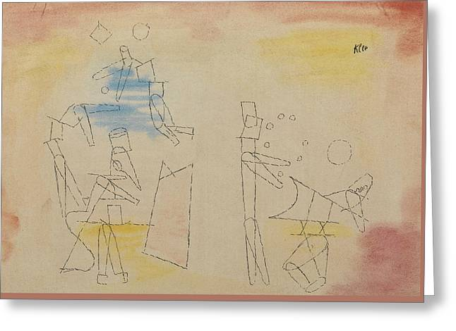 Acrobats Greeting Card by Paul Klee