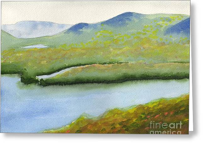 Greeting Card featuring the painting Across Fourth Lake by Robert Coppen