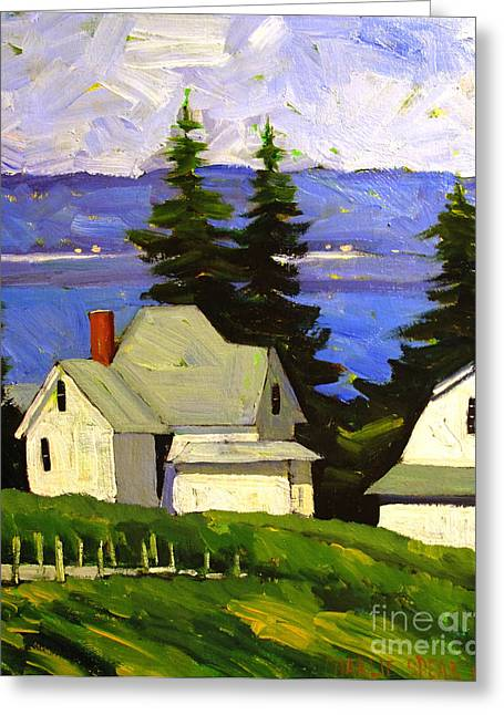 View Across Lake Shafer Greeting Card by Charlie Spear