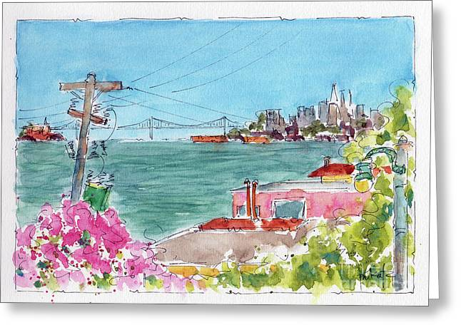 Greeting Card featuring the painting Across The Bay From Sausalito by Pat Katz