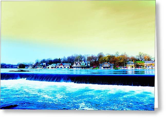 Across The Dam To Boathouse Row. Greeting Card by Bill Cannon