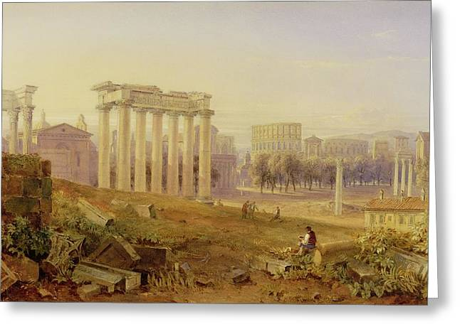 Across The Forum - Rome Greeting Card by Hugh William Williams