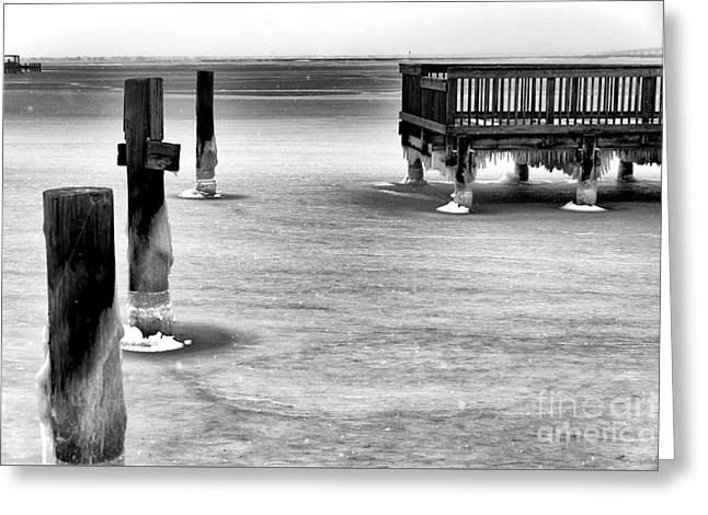 Across The Frozen Bay Greeting Card by John Rizzuto