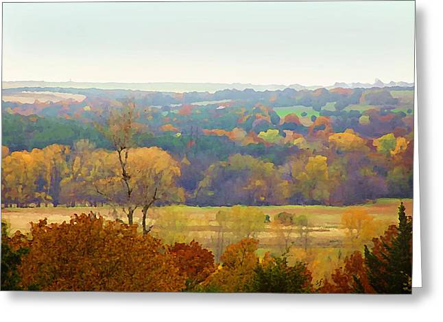 Across The River In Autumn Greeting Card