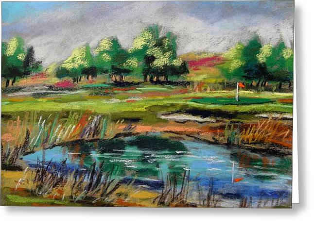 Greeting Card featuring the painting Across The Water Hazard by John Williams