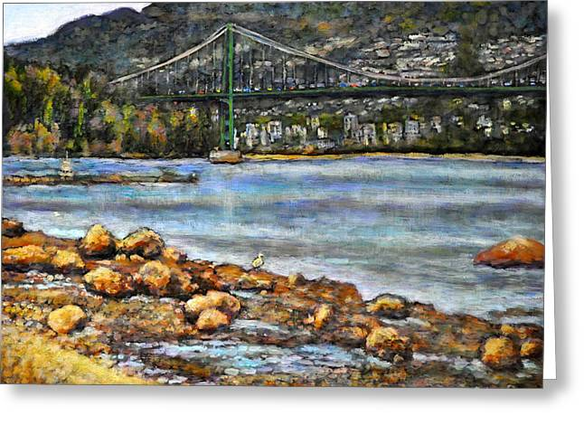 Across The Water It Stands Greeting Card by Eileen  Fong