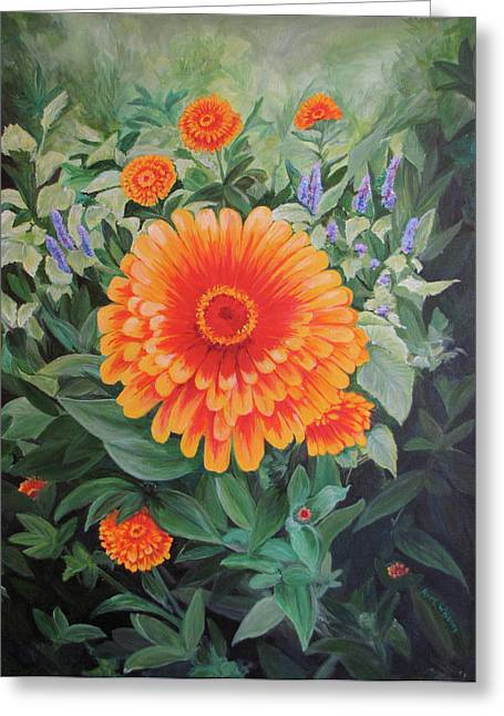 Acrylic Flower Painting - Zoozinnia Greeting Card by Avril Whitney