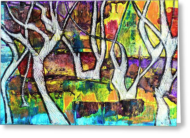 Greeting Card featuring the painting Acrylic Forest  by Ariadna De Raadt
