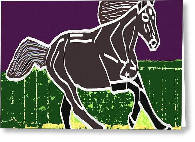 Acrylic Painted Horse On Display Fineart By Navinjoshi At Fineartamerica.com For The Fans Of Horses Greeting Card by Navin Joshi