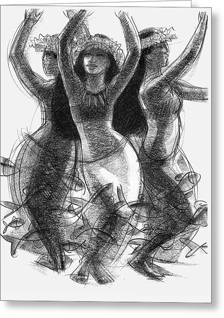 Action Song Dancers With Fish Pareu Greeting Card