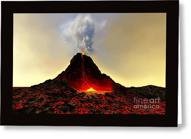Active Volcano Greeting Card by Corey Ford