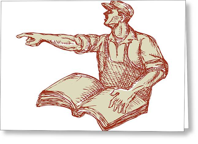 Activist Union Worker Pointing Book Drawing Greeting Card by Aloysius Patrimonio