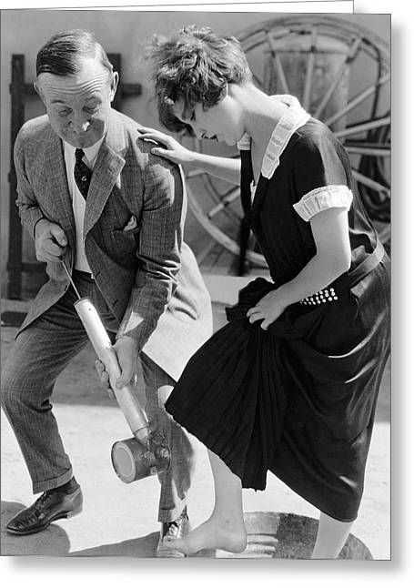 Actress Gets Feet Sprayed Greeting Card by Underwood Archives