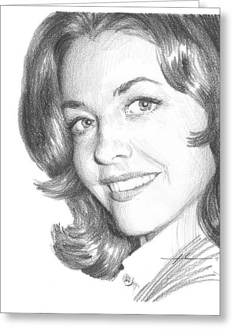 Actress Myrna Fahey Closeup Pencil Portrait Greeting Card by Mike Theuer
