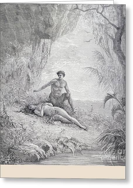 Adam And Eve Greeting Card by Gustave Dore