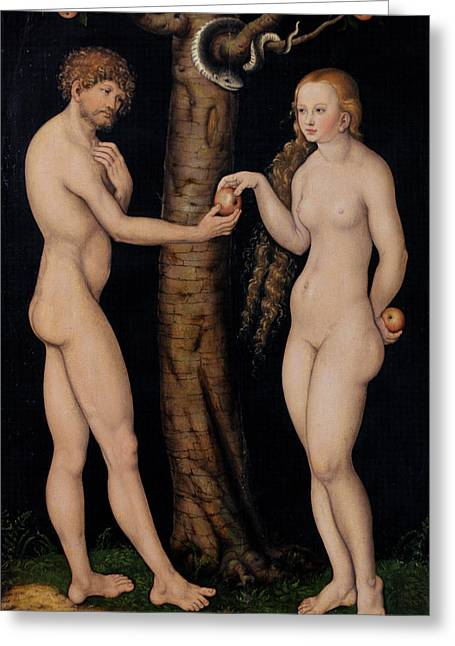 Eve Greeting Cards - Adam and Eve in the Garden of Eden Greeting Card by The Elder Lucas Cranach