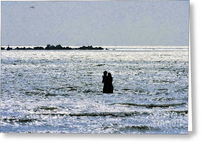 Adam And Eve In Waves Greeting Card by GabeZ Art