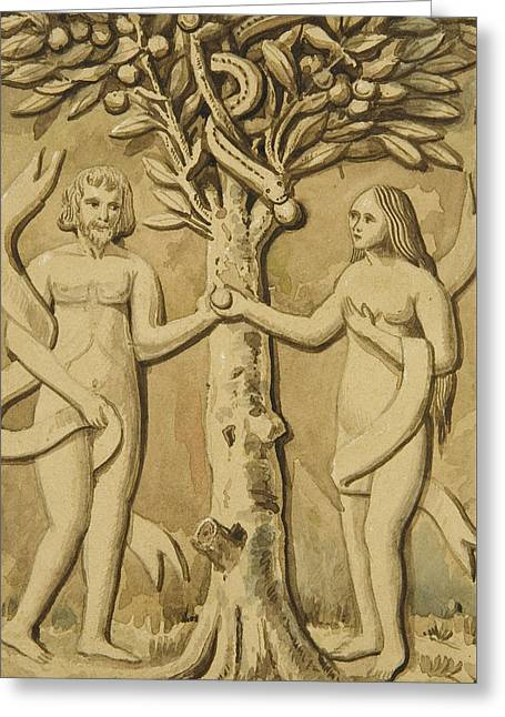 Adam And Eve Greeting Card by Joesph Manning
