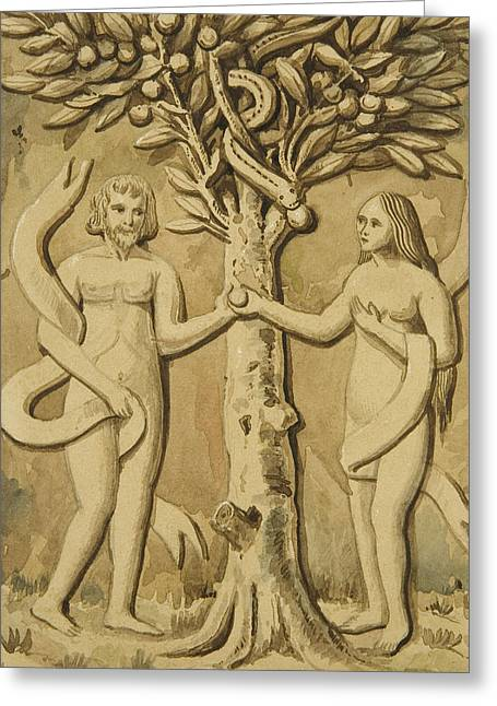 Adam And Eve Greeting Card by Joseph Manning