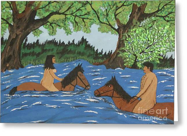 Adam And Eve Swimming On Horses Greeting Card