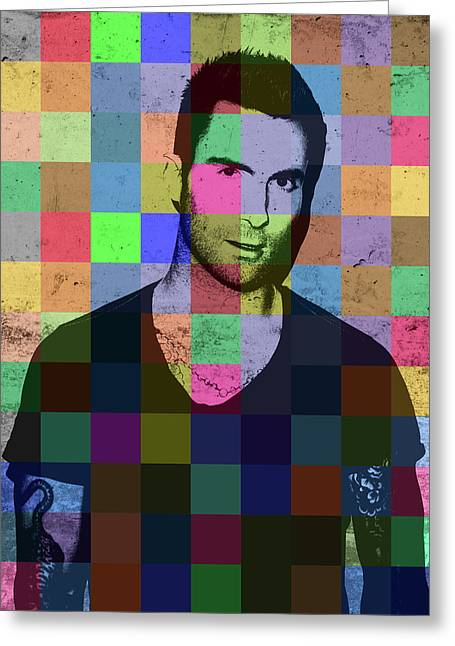 Adam Levine Maroon Five Pop Art Patchwork Colorful Portrait Greeting Card by Design Turnpike