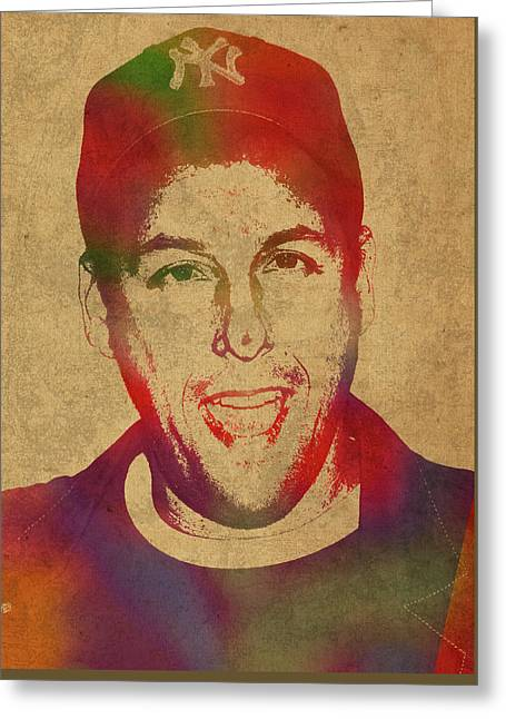 Adam Sandler Comedian Actor Watercolor Portrait On Canvas Greeting Card by Design Turnpike