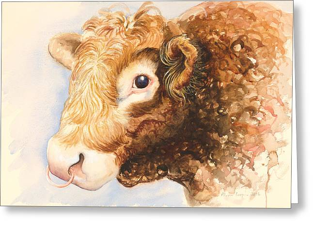 Adam The Bull Greeting Card by Alison Cooper