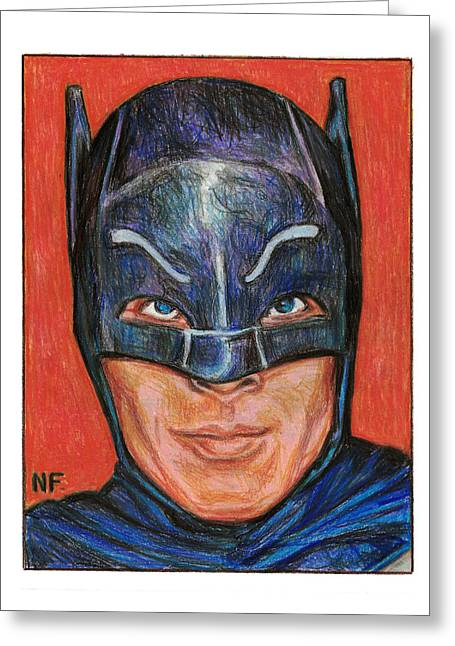 Adam West Is Batman Greeting Card by Neil Feigeles
