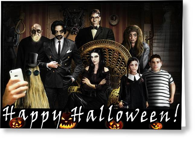Addams Halloween Greeting Card Greeting Card by Alessandro Della Pietra