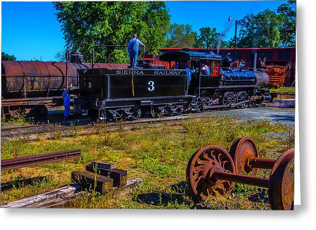 Adding Oil To Steam Train No 3 Greeting Card