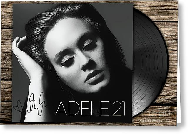 Adele 21 Art With Autograph Greeting Card by Kjc