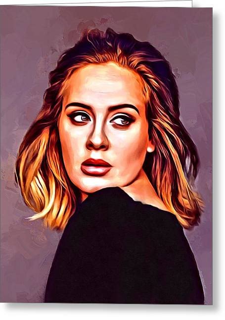 Adele Portrait Greeting Card by Scott Wallace