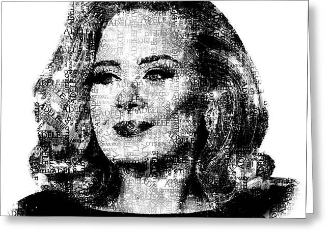 Adele Text Portrait - Typographic Face Poster With The Lyrics For The Song Hello Greeting Card