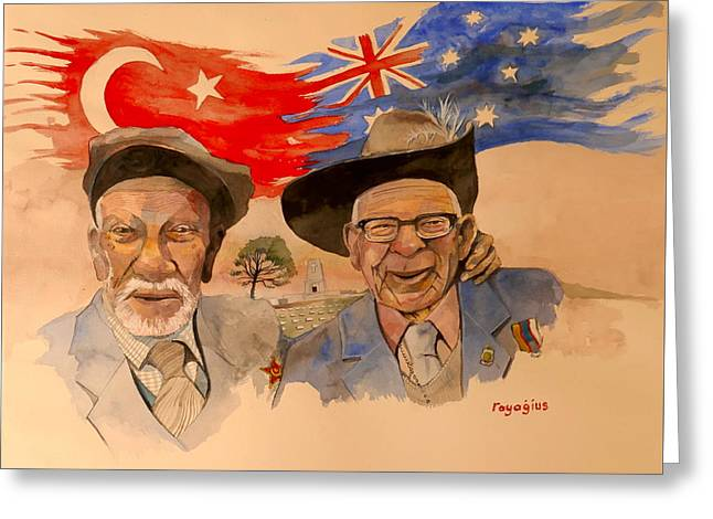 Greeting Card featuring the painting Adil Sahin And Len Hall by Ray Agius